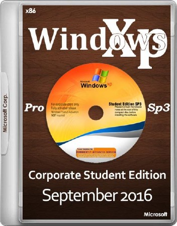 Windows XP Pro SP3 Corporate Student Edition September 2016 (x86/ENG/RUS)