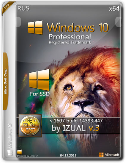 Windows 10 Professional x64 14393.447 VLSC by IZUAL v.3 (RUS/2016)